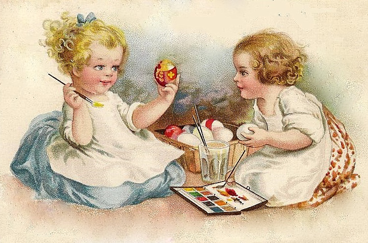 Image result for little girls painting eggs